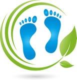 Πόδια και φύλλα, μασάζ και λογότυπο προσοχής ποδιών διανυσματική απεικόνιση