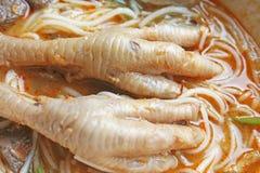 Πόδια κοτόπουλου στην πικάντικη σάλτσα κάρρυ με τα νουντλς ρυζιού στοκ φωτογραφία με δικαίωμα ελεύθερης χρήσης