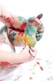 πόδια παιδιών η ζωγραφική τ&omic Στοκ εικόνα με δικαίωμα ελεύθερης χρήσης