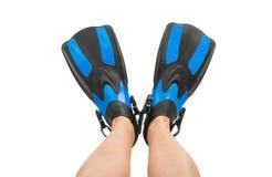 πόδια στα βατραχοπέδιλα που απομονώνονται στοκ εικόνες με δικαίωμα ελεύθερης χρήσης