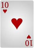 Πόκερ δέκα καρδιών καρτών Στοκ φωτογραφίες με δικαίωμα ελεύθερης χρήσης