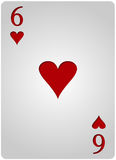 Πόκερ έξι καρδιών καρτών Στοκ Εικόνα
