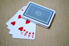 Πόκερ αγάπης καρτών παιχνιδιού των καρδιών 7QA3 Στοκ Φωτογραφίες