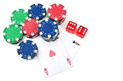 πόκερ δύο τσιπ άσσων Στοκ Εικόνες