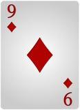 Πόκερ εννέα διαμαντιών καρτών Στοκ Εικόνες