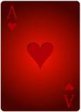 Πόκερ καρδιών καρτών άσσων Στοκ φωτογραφία με δικαίωμα ελεύθερης χρήσης