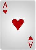 Πόκερ καρδιών καρτών άσσων Στοκ φωτογραφίες με δικαίωμα ελεύθερης χρήσης