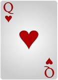 Πόκερ καρδιών καρτών βασίλισσας Στοκ Εικόνες
