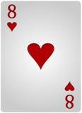 Πόκερ οκτώ καρδιών καρτών Στοκ Εικόνα
