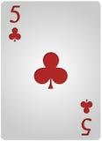 Πόκερ πέντε λεσχών καρτών Στοκ Εικόνα