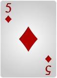 Πόκερ πέντε διαμαντιών καρτών Στοκ φωτογραφία με δικαίωμα ελεύθερης χρήσης