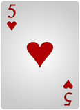 Πόκερ πέντε καρδιών καρτών Στοκ Φωτογραφίες