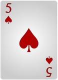 Πόκερ πέντε φτυαριών καρτών Στοκ Φωτογραφίες