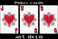 πόκερ παιχνιδιού καρτών Καρδιά του Jack Βασίλισσα Heart Καρδιά βασιλιάδων Κάρτες πόκερ στο ύφος deco τέχνης Τυποποιημένη κάρτα με Στοκ Εικόνες
