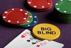 Πόκερ που τίθεται με τα τσιπ και τις κάρτες στον πίνακα Στοκ Φωτογραφίες