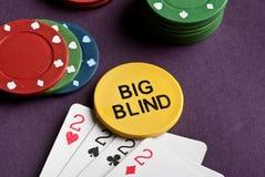 Πόκερ που τίθεται με τα τσιπ και τις κάρτες στον πίνακα Στοκ Φωτογραφία