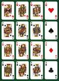 Πόκερ που τίθεται με τις απομονωμένες κάρτες στο πράσινο υπόβαθρο - υψηλές κάρτες Στοκ Φωτογραφία
