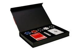 Πόκερ που τίθεται στο μαύρο κουτί Στοκ φωτογραφία με δικαίωμα ελεύθερης χρήσης