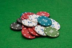 πόκερ σωρών τσιπ Στοκ Εικόνες