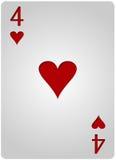 πόκερ τεσσάρων καρδιών καρτών Στοκ φωτογραφίες με δικαίωμα ελεύθερης χρήσης