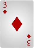 Πόκερ τριών διαμαντιών καρτών Στοκ Φωτογραφία