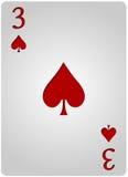 Πόκερ τριών φτυαριών καρτών Στοκ φωτογραφία με δικαίωμα ελεύθερης χρήσης