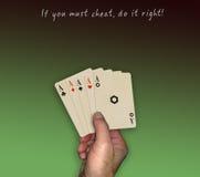 Πόκερ, τυχερή εξαπάτηση χεριών στοκ εικόνα με δικαίωμα ελεύθερης χρήσης