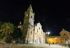 Πόλης άποψη του Ραγκούσα νύχτας, Σικελία, Ιταλία Στοκ εικόνα με δικαίωμα ελεύθερης χρήσης