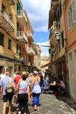 Πόλης εμπορική οδός Ελλάδα της Κέρκυρας Στοκ φωτογραφία με δικαίωμα ελεύθερης χρήσης