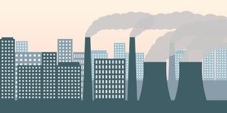 Πόλη και βιομηχανία με την αιθαλομίχλη βιομηχανίας ατμοσφαιρικής ρύπανσης και την επιβλαβή εκπομπή καυσαερίων διανυσματική απεικόνιση