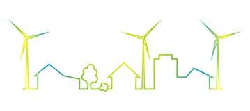 Πόλη και εγκαταστάσεις αιολικής ενέργειας, πολύχρωμο εικονίδιο Απεικόνιση αποθεμάτων