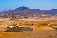 Πόλη και ηφαίστειο Fuerteventura, Κανάρια νησιά Λα Oliva χώρων Λα Στοκ εικόνες με δικαίωμα ελεύθερης χρήσης