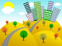 πόλη κινούμενων σχεδίων Στοκ εικόνες με δικαίωμα ελεύθερης χρήσης
