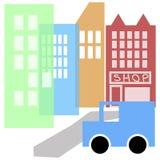 πόλη κινούμενων σχεδίων ελεύθερη απεικόνιση δικαιώματος