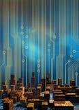 πόλη κυκλωμάτων cyber διανυσματική απεικόνιση