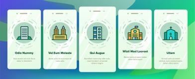 Πόλη, κωμοπόλεων κινητή App κτηρίων διανυσματική οθόνη σελίδων Onboarding απεικόνιση αποθεμάτων