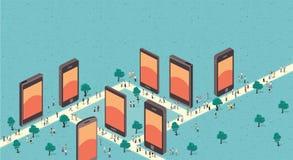 πόλη με τα έξυπνα τηλέφωνα ελεύθερη απεικόνιση δικαιώματος
