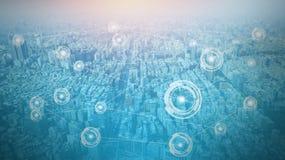 Πόλη με την έννοια γραμμών σύνδεσης, τεχνολογία εννοιολογική, παγκοσμιοποίηση Διαδικτύου στοκ φωτογραφία