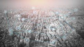 Πόλη με την έννοια γραμμών σύνδεσης, τεχνολογία εννοιολογική, παγκοσμιοποίηση Διαδικτύου στοκ εικόνες