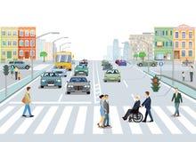 Πόλη με την κυκλοφορία και πεζοί στο πεζοδρόμιο διανυσματική απεικόνιση