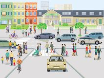 Πόλη με την κυκλοφορία και πεζοί στο πεζοδρόμιο απεικόνιση αποθεμάτων