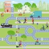 Πόλη με την κυκλοφορία και πεζοί διανυσματική απεικόνιση