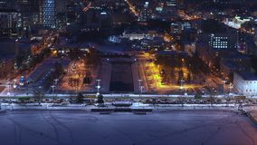 Πόλη νύχτας, κτήρια με το φωτισμό φιλμ μικρού μήκους