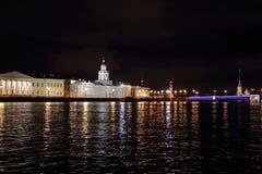 Πόλη - νύχτα - φως-γέφυρα-ποταμός Στοκ Εικόνες