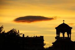 πόλη πέρα από το ηλιοβασίλεμα Στοκ Φωτογραφία
