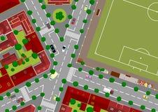 πόλη ποδοσφαίρου πεδίων Στοκ Εικόνες