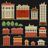 Πόλη που χτίζει τα επίπεδα εικονίδια ύφους καθορισμένα διάνυσμα διανυσματική απεικόνιση