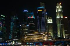 Πόλη Σινγκαπούρης τή νύχτα Στοκ Εικόνα
