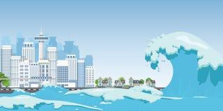 Πόλη στην ακτή που καταστρέφεται από τα κύματα τσουνάμι απεικόνιση αποθεμάτων