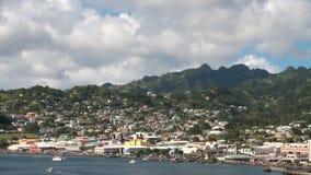 Πόλη στην ακτή του νησιού στην καραϊβική θάλασσα Kingstown, Άγιος Vincent και Γρεναδίνες απόθεμα βίντεο